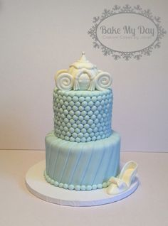 """Elegant cinderella cake with carriage and """"glass"""" slipper www.facebook.com/CustomByJanet Glass Slipper, Custom Cakes, Cinderella, Facebook, Baking, Elegant, Day, Desserts, Food"""