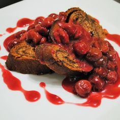 Chocolate babka filled with an espresso butterscotch served with warm sour cherries.