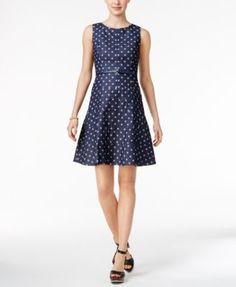TOMMY HILFIGER Tommy Hilfiger Belted Denim Fit &Amp; Flare Dress. #tommyhilfiger #cloth # dresses