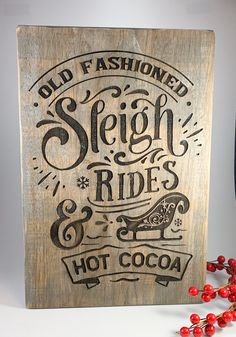 Old Fashioned Christmas Sign / Sleigh Rides Sign / Christmas Decor / Barnwood Sign / Old Fashioned Sign / Hot Cocoa / Christmas Decorations Old Fashioned Christmas Decorations, Retro Christmas Tree, Christmas Signs Wood, Christmas Poster, Christmas Scenes, Primitive Christmas, Country Christmas, Christmas Tree Decorations, Christmas Christmas