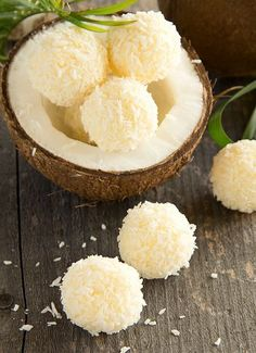 Homemade candies with coconut.