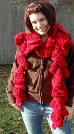 Items similar to Red Ruffle Scarf on Etsy Ruffle Scarf, Red Scarves, Pirates, Etsy Shop, Trending Outfits, Unique Jewelry, Handmade Gifts, Clothes, Shopping