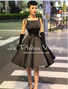 "Le Palais Vintage Retro ""Classic Hepburn"" Silk High Waist Puff Black Dress #womensfashionretrochic"