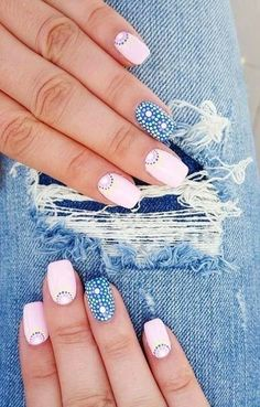 Square + Blue & Soft Pink + Dots