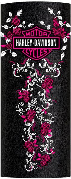 Harley-Davidson® Womens Pink Roses & Scroll Ink Embossed Black Leather Hair Glove™