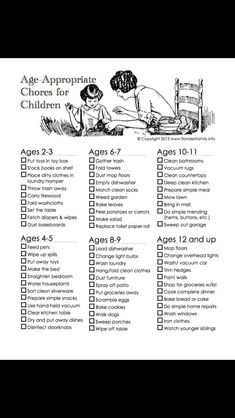 Age appropriate chores.