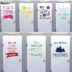 7 Kindness Project Quotes School Bathroom Decals All 7 Positive Esteem Quote Decals for Schools, Kids, Teachers, Set A Bathroom Decals, Bathroom Stall, Bathroom Quotes, Bathroom Doors, Bathrooms, Bathroom Art, Bathroom Signs, School Hallways, School Murals