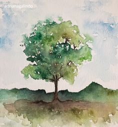 Landscape Trees Painting Watercolors Ideas For 2019 Watercolor Scenery, Tree Watercolor Painting, Watercolor Paintings For Beginners, Watercolor Projects, Watercolor Landscape Paintings, Watercolor Sketch, Watercolor Techniques, Watercolor Flowers, Bird Paintings