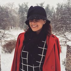 Red coat + Black hat + Winter Fashion + Style + Fashion + Casual + Bow Coat