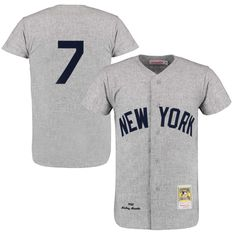 Men s New York Yankees Mickey Mantle Mitchell  amp  Ness Gray Throwback  1961 Authentic Jersey Yankees 37ee4b93035c4