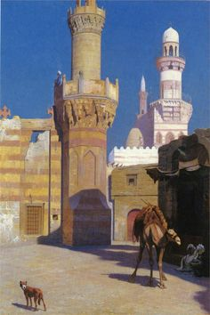 A Hot Day in Cairo (front of the Mosque) — Jean-Leon Gerome