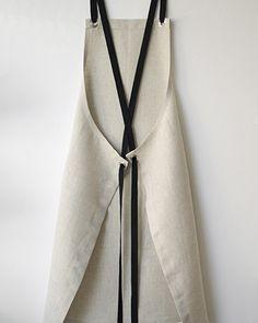 StudioPatro KITCHEN APRON - OATMEAL with Black Ties