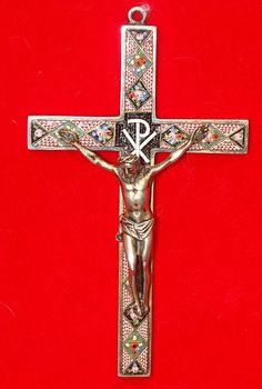 Roman Micro Mosaic crucifix set in silver , Italy 19th century