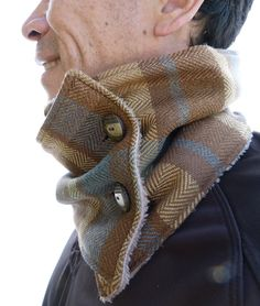 Mens Neckwarmer - Brown/Aquamarine Green/Beige Herrinbone Plaid Tweed and Fluffy Beige Fleece, Mens Scarf, Winter Scarf. $29,50, via Etsy.