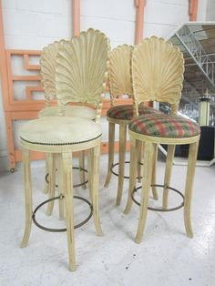 Need these!  Set of 4 Clam Shell Barstools