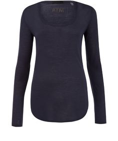 ATM Navy Scoop Neck Long Sleeve Top $102.71