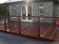 Hardwood Decking with Glass Balustrade – Glass Balcony Ideas – Balcony Decor Ideas Deck Balustrade Ideas, Wood Deck Railing, Wood Handrail, Hardwood Decking, Glass Balustrade, Timber Deck, Railing Design, Patio Deck Designs, Balcony Design