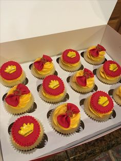 Red & Gold Prince Baby Shower Cupcakes by Double Dee Cupcakes