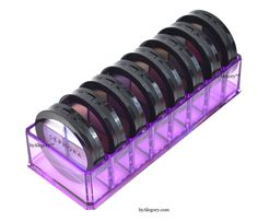 Acrylic Compact Cosmetic Organizer Holds Up To 8 Compacts! $15.89 http://mycosmeticorganizer.com/acrylic-compact-cosmetic-organizer/ #makeup #cosmetics #purple #clear #acrylic #beauty #vanity #bathroom #storage #organization