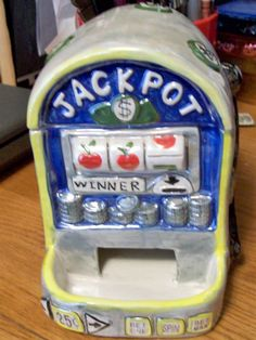 Vintage Ceramic Slot Machine Candy and Treat  Dispenser/Cookie Jar People Treater Great item for Desk in Office or Gift for the Gambler L@@K by RustyRelicsTreasures on Etsy