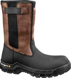 Carhartt Rugged Flex Men's Blk PU Coated Leather/Blk Neoprene with Brn Trim Waterproof 10 in. Pull-On Composite Toe Work Boot, Browns/Tans Pull On Work Boots, Composite Toe Work Boots, Rugged Men, Wellington Boot, Cool Boots, Carhartt, Brown Boots, Tan Leather, Leather Boots