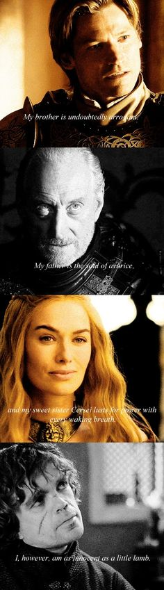 Game of Thrones: Jaime, Tywin, Cersei and Tyrion Lannister (House Lannister) A Dance With Dragons, Got Game Of Thrones, Cersei Lannister, Iron Throne, Love Games, Winter Is Here, Valar Morghulis, Best Shows Ever, Favorite Tv Shows