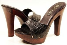high heel slides | WOMENS HIGH HEEL WOODEN SLIDE SANDALS BLACK / BROWN | eBay