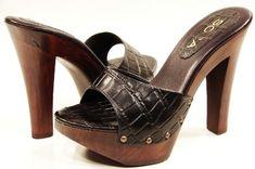 high heel slides   WOMENS HIGH HEEL WOODEN SLIDE SANDALS BLACK / BROWN   eBay