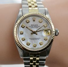 You Wont Get Wrong With Rolex 18K Gold/SS Datejust 31MM Watch Diamond MOP Dial Circa 1981 Womens