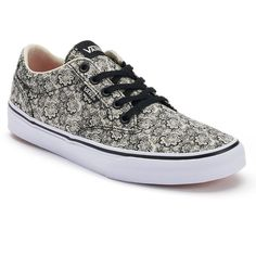 Vans Winston Women's Henna Print Skate Shoes ($50) ❤ liked on Polyvore featuring shoes, sneakers, white, lace up sneakers, waffle shoes, round toe sneakers, waffle trainer and lace up shoes
