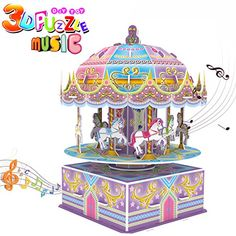 GBD 3D Carousel Puzzle for KidsWhirligig Jigsaw Music Box DIY Building Model Early Learning Educational Toys Brain Teasers Girls Toys Teens Birthday Christmas Gifts29 Pieces ** To view further for this item, visit the image link.-It is an affiliate link to Amazon.