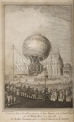 [Sept 19, 1783] View of a Montgolfier balloon being launched on a first flight at Versailles, France carrying a sheep, a rooster, and a duck. The balloon te...