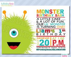Monster 1st Birthday Invitations 421 by LullabyLoo on Etsy, $18.00