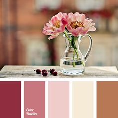 """""""baby pink"""" color, """"dusty"""" pink, beige, brown, color combination in interior, color of pink peonies, dark lilac, light lilac, lilac, pink, reddish brown, selection of color, soft pink, warm brown."""