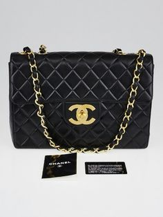 Don't miss out on your opportunity to own this beautiful Chanel Black Quilted Leather Maxi Jumbo XL Classic Flap Bag. It is made of the gorgeous quilted soft lambskin leather and features a jumbo-sized goldtone turnlock CC closure. The versatile leather strap chain can be worn on the shoulder or lengthened to wear with a longer drop. It's no wonder why this is bag adored by celebrities such as Victoria Beckham and Nicole Richie.