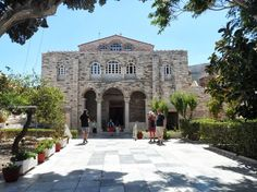The facade of Panaghia Ekatontapyliani beautiful church in Paros Greece dedicated to Virgin Mary. Courtesy of my friend Aline Dobbie