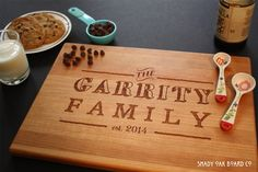 Personalize this cutting board with a simple engraving of a family name in a fun chalkboard font!