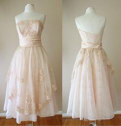 VINTAGE SHEER TULLE COCKTAIL FORMAL WEDDING BALLERINA DRESS GOWN BRIDESMAIDS #Unbranded #Cocktail
