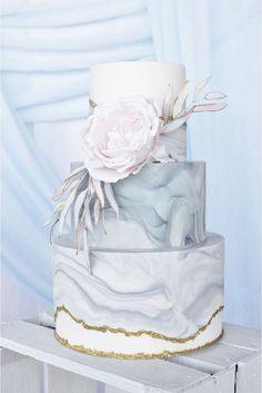 Marble Wedding Cakes - via Rustic Wedding Chic Birch Wedding Cakes, Small Wedding Cakes, Amazing Wedding Cakes, Wedding Cake Designs, Wedding Desserts, Wedding Cake Toppers, Rustic Wedding, Cake Wedding, Gold Wedding
