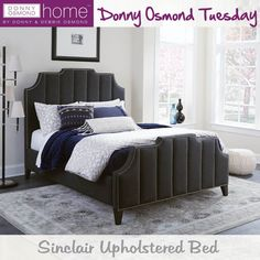 Upholstered in black suede and featuring elegant vertical channeling adorned with individually applied brushed nickel nail heads, the Sinclair upholstered bed will be the reason you look forward to coming home every night! (Item# 301160Q)  #DonnyOsmondHome #DonnyOsmond #DOHByCoaster #HomeDecor #HomeImprovement #HomeMakeover #HomeFurnishing #HomeGoals #InteriorDesign #Interior123 #InteriorDecor #HomeStyle #HomeInspiration #HomeInspo #DesignInspo #FurnitureDesign #Bed #CoasterCompany #Coaster