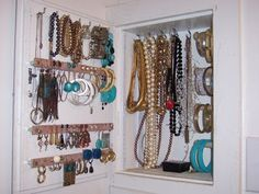 This is my fave of the 34 jewelry storage ideas linked here. If only I had an odd, shallow storage cabinet. But a neat idea for a repurpose/upcycle medicine cabinet! Thats probably exactly what this is, but who can spare the medicine cabinet? Storage Mirror, Diy Mirror, Wall Organization, Jewelry Organization, Diy Jewelry Holder, Jewelry Box, Jewelry Ideas, Jewlery, Jewelry Closet