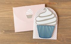 Cupcake Card made with the Classically Modern Cards Cricut Cartridge. Make It Now with the Cricut Explore machine in Cricut Design Space.