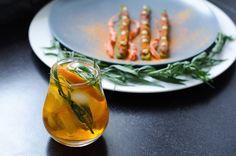 aperitivo moment, estragon, beef tartar, carrot powder