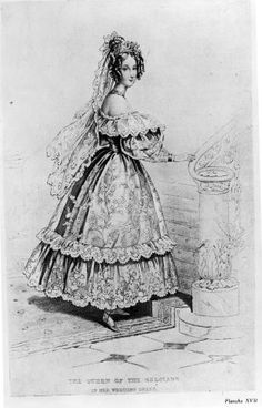 A fashion plate showing Queen Louise of Belgium in her wedding dress, 1832, The Court Magazine