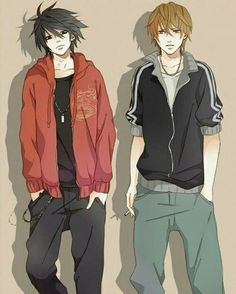 L Lawliet and Light Yagami _Death Note Death Note Anime, Death Note デスノート, Death Note Light, Manga Boy, Manga Anime, Vocaloid, Mail Jeevas, L X Light, Nate River