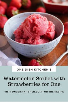 Easy to make Watermelon Sorbet - this refreshing dairy free dessert is made with just 3 ingredients; watermelon, strawberries, and honey. No ice cream maker needed! A healthy, and delicious single serving recipe! Watermelon Sorbet, Kitchen Dishes, Strawberry, Ice Cream, Desserts, Recipes, Food, No Churn Ice Cream, Tailgate Desserts