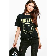 Boohoo Katie Nirvana Licence Print Band T-Shirt ($24) ❤ liked on Polyvore featuring tops, t-shirts, black, crop t shirt, off shoulder tops, flat top, off the shoulder crop top and off shoulder tee