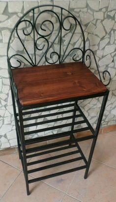 Artigianato italiano in stile rustico Scaffale Libreria Etagere in ferro battuto e legno massello cucina bagno