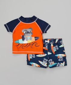 This Orange Dog Rashguard Set - Infant & Toddler by Watch Me Grow is perfect! #zulilyfinds