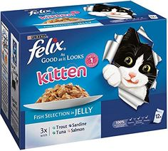Felix Good As It Looks Kitten Fish Selection in Jelly 12 x 100g (Bulk deal of 4) 4800g * More details can be found by clicking on the image. #CatFood
